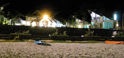 Acuatico Beach at nightime