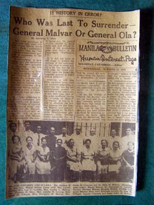 Newspaper clipping of General Malvar's surrender