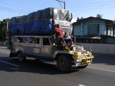 Jeeepney overloaded up to the roof in Tanauan Batangas.