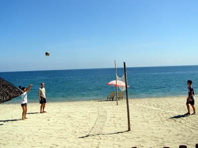 Playing Beach Volleyball at Laiya